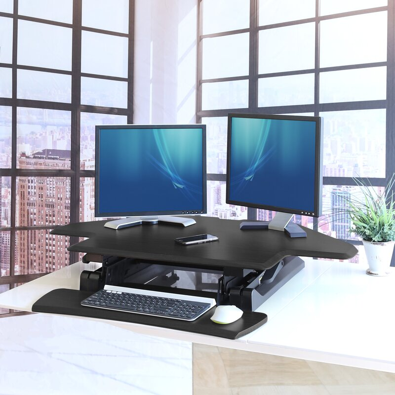 Marvelous Airlift Corner Height Adjustable Standing Desk Converter Download Free Architecture Designs Grimeyleaguecom