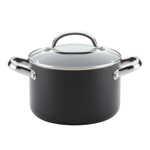 Buena Cocina 4 qt. Aluminum Nonstick Covered Soup Pot with Lids