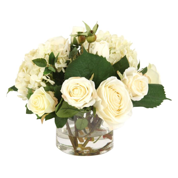 Waterlook Cream White Roses and Hydrangeas in Short Vase