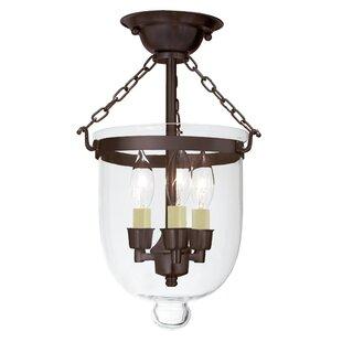 JVI Designs 3-Light Small Bell Jar Semi Flush Mount