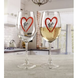 His and Hers 2-Piece 15 oz. Stemmed Wine Glass Set (Set of 2)