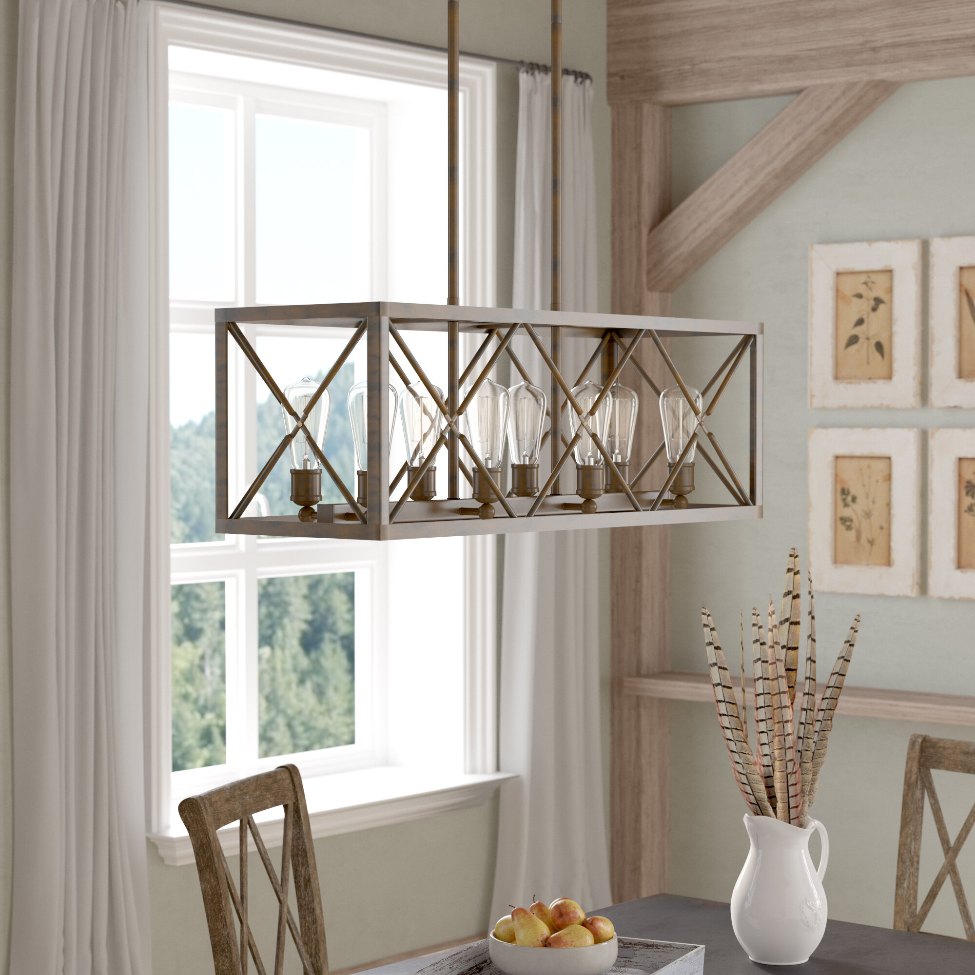 Gracie Oaks Maly 8 Light Kitchen Island Linear Pendant Reviews Wayfair
