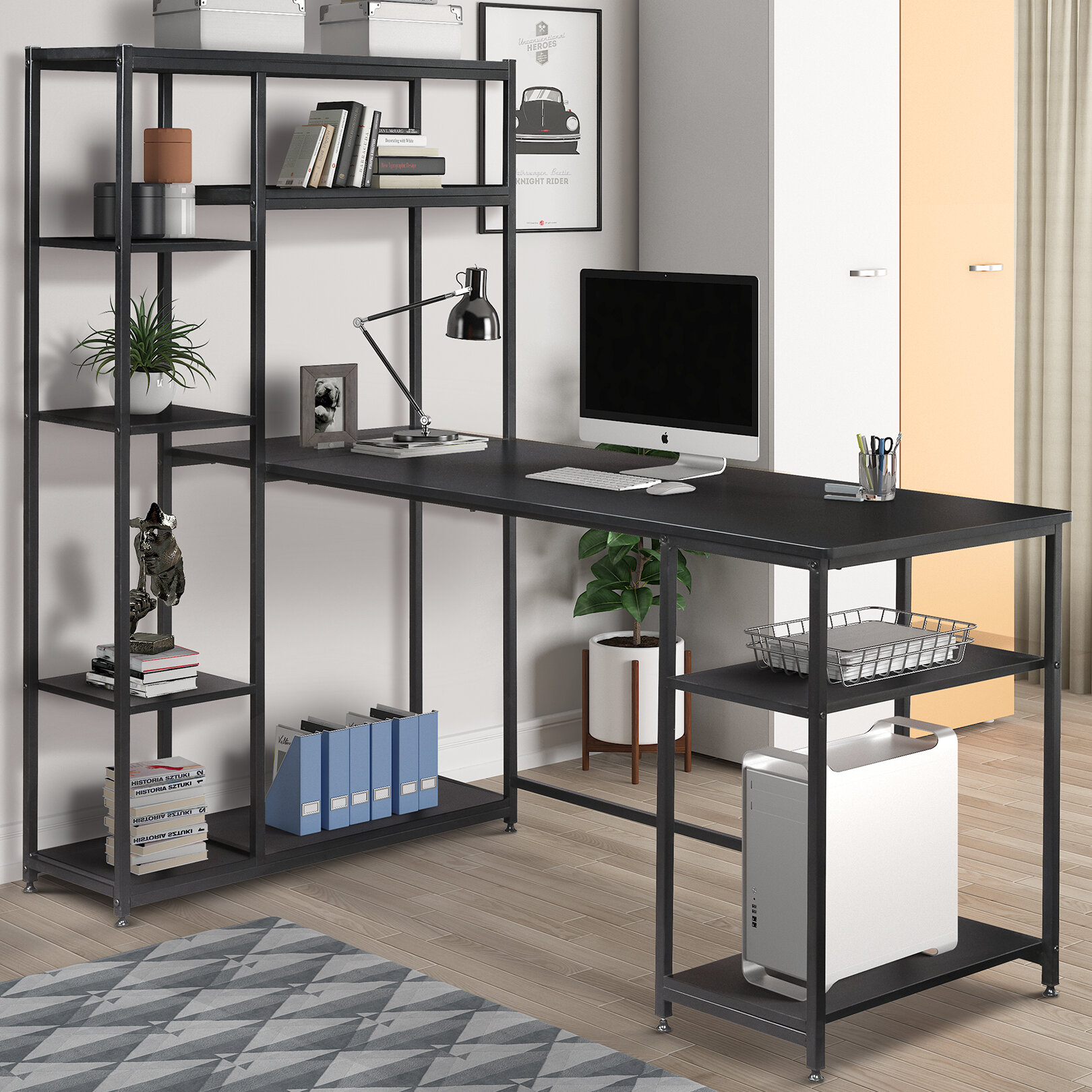 Office Computer Desk With Multiple Storage Shelves, Modern Large Office  Desk With Bookshelf And Storage Space(Black)
