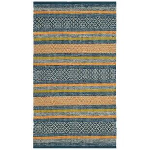 Gaillard Hand-Woven Blue/Orange Area Rug byBrayden Studio