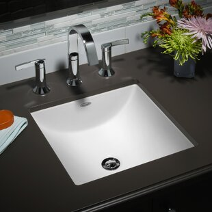 Studio Vitreous China Square Undermount Bathroom Sink With Overflow
