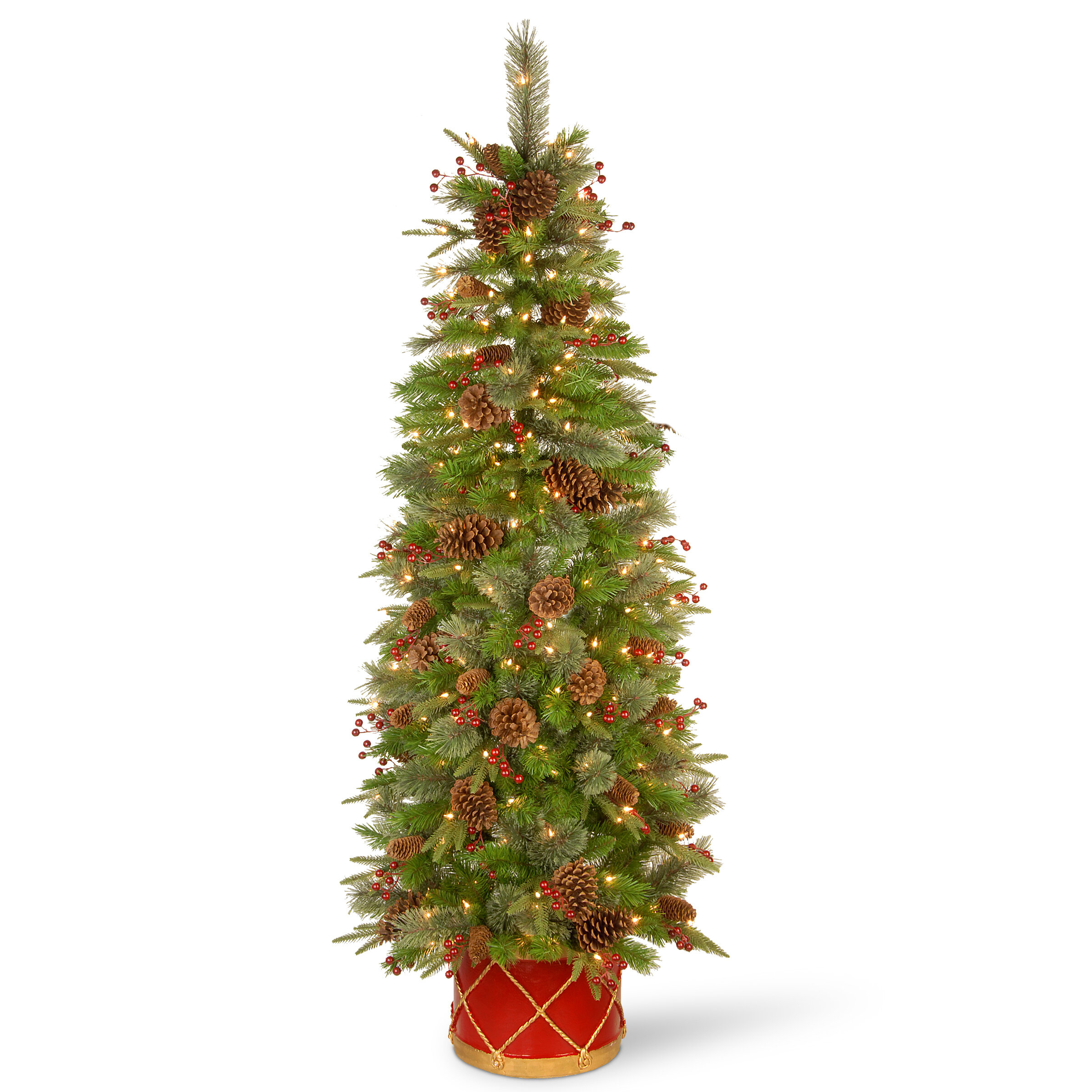 Half Christmas Tree.6 Ft Colonial Slim Half Artificial Christmas Tree With Clear Lights