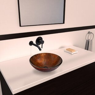 VIGO Kenyan Twilight Glass Circular Vessel Bathroom Sink with Faucet