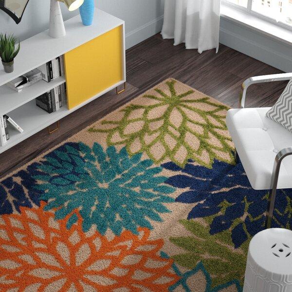 Zipcode Design Broadus Floral Green Blue Orange Area Rug Reviews Wayfair