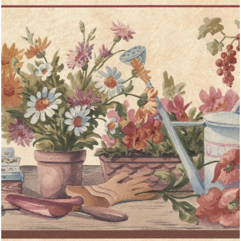 Roll 15 X 7 Flowers Vintage Pink Variety Floral Design Wallpaper Border For Kitchen Bathroom Living Room Wallpaper Borders