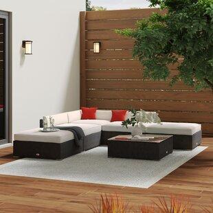 Hazen 6 Piece Rattan Sectional Set with Cushions by Zipcode Design