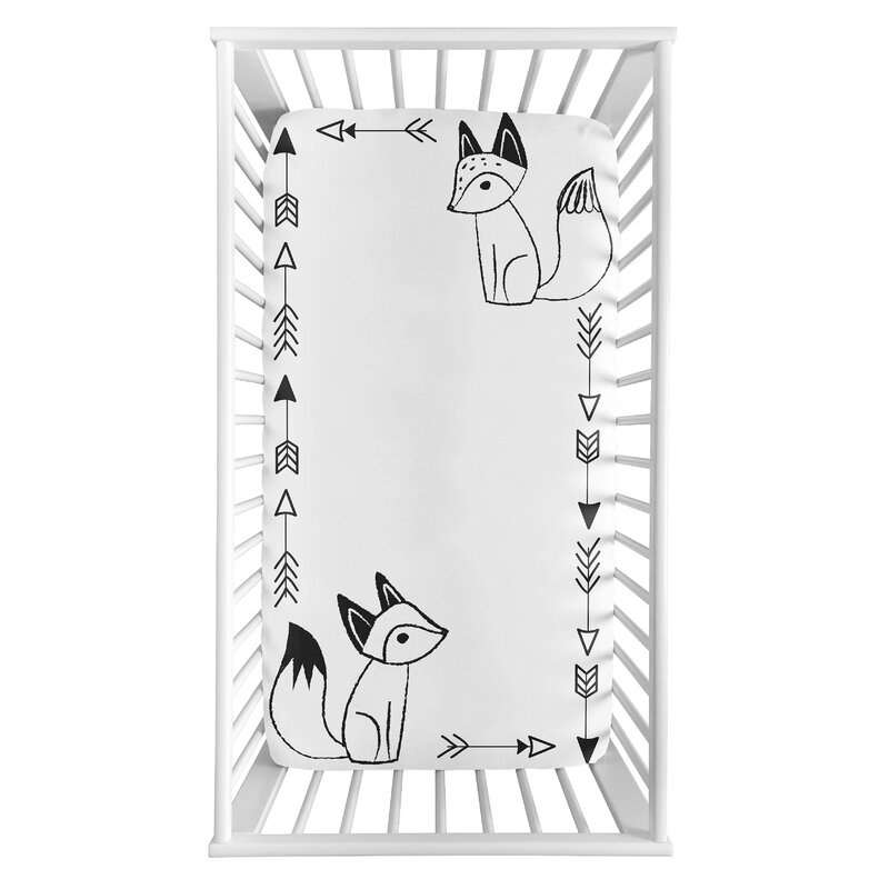 Sweet Jojo Designs Black And White Fox Collection Fox Photo Op Fitted Crib Sheet Wayfair