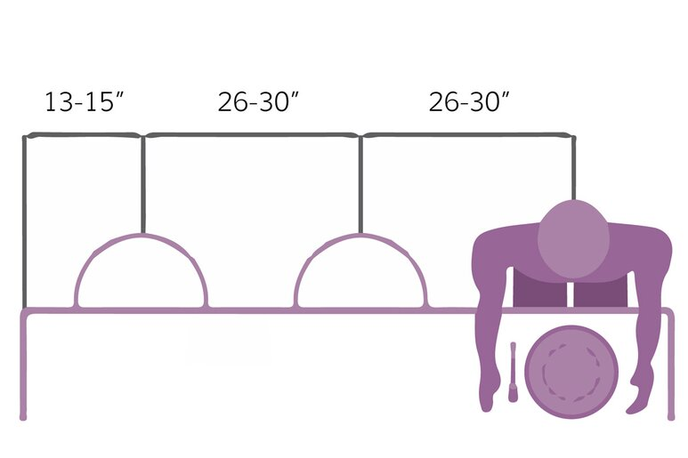 other to consider when choosing a bar stool are the spaces between each stool as well as between the stool and the surface height