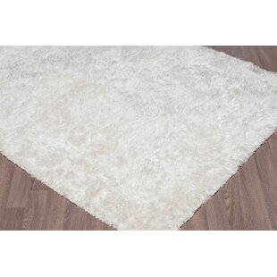 Affordable Emerie Super Soft Plush Shag Hand Woven White Area Rug ByEverly Quinn