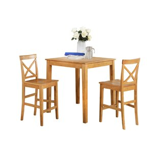 Ashraf 3 Piece Counter Height Solid Wood Dining Set