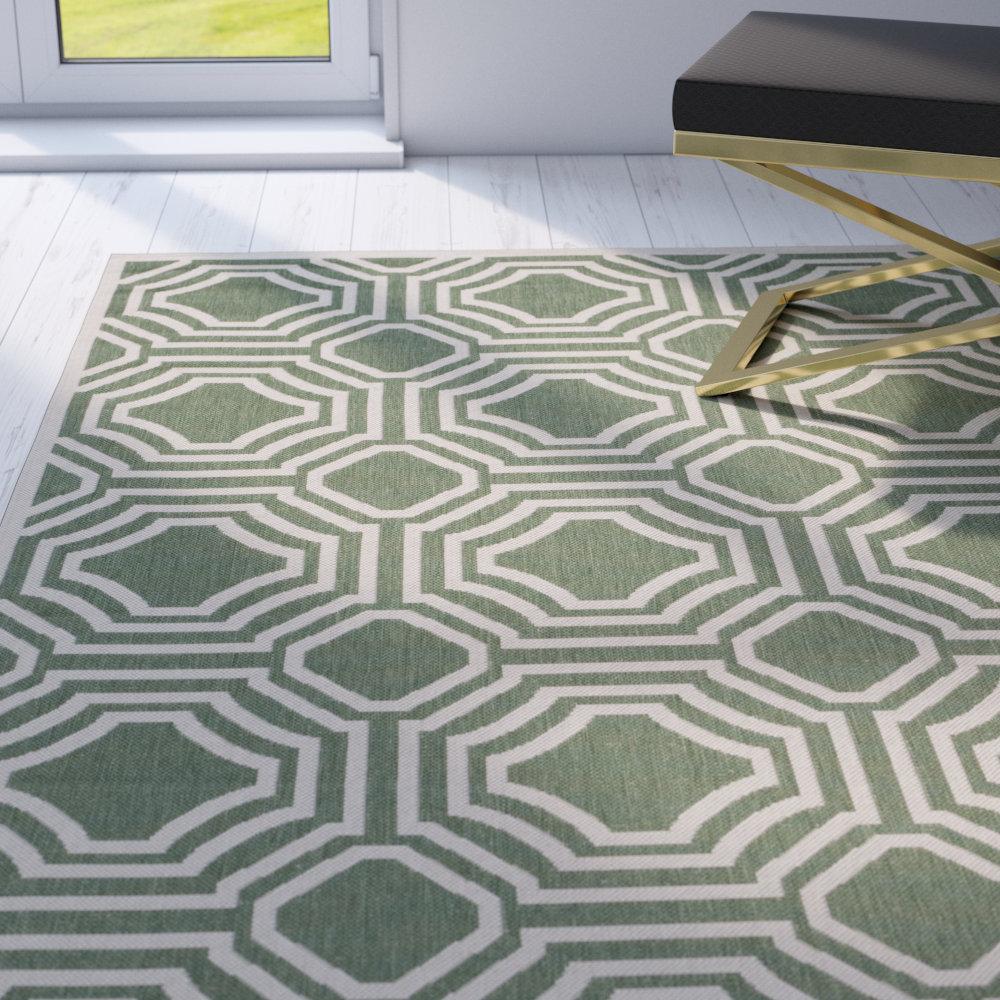 George Oliver Catharine Geometric Green Beige Indoor Outdoor Area Rug Reviews Wayfair