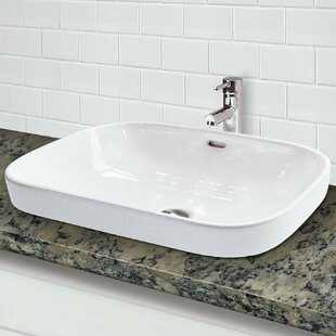 DECOLAV Classically Redefined Vitreous China Rectangular Vessel Bathroom Sink with Overflow