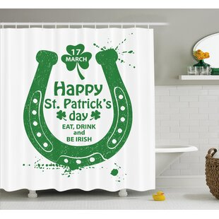 St. Patrick'S Day Eat Drink and Be Irish March 17Th Celebration With Horseshoe and Shamrock Art Single Shower Curtain