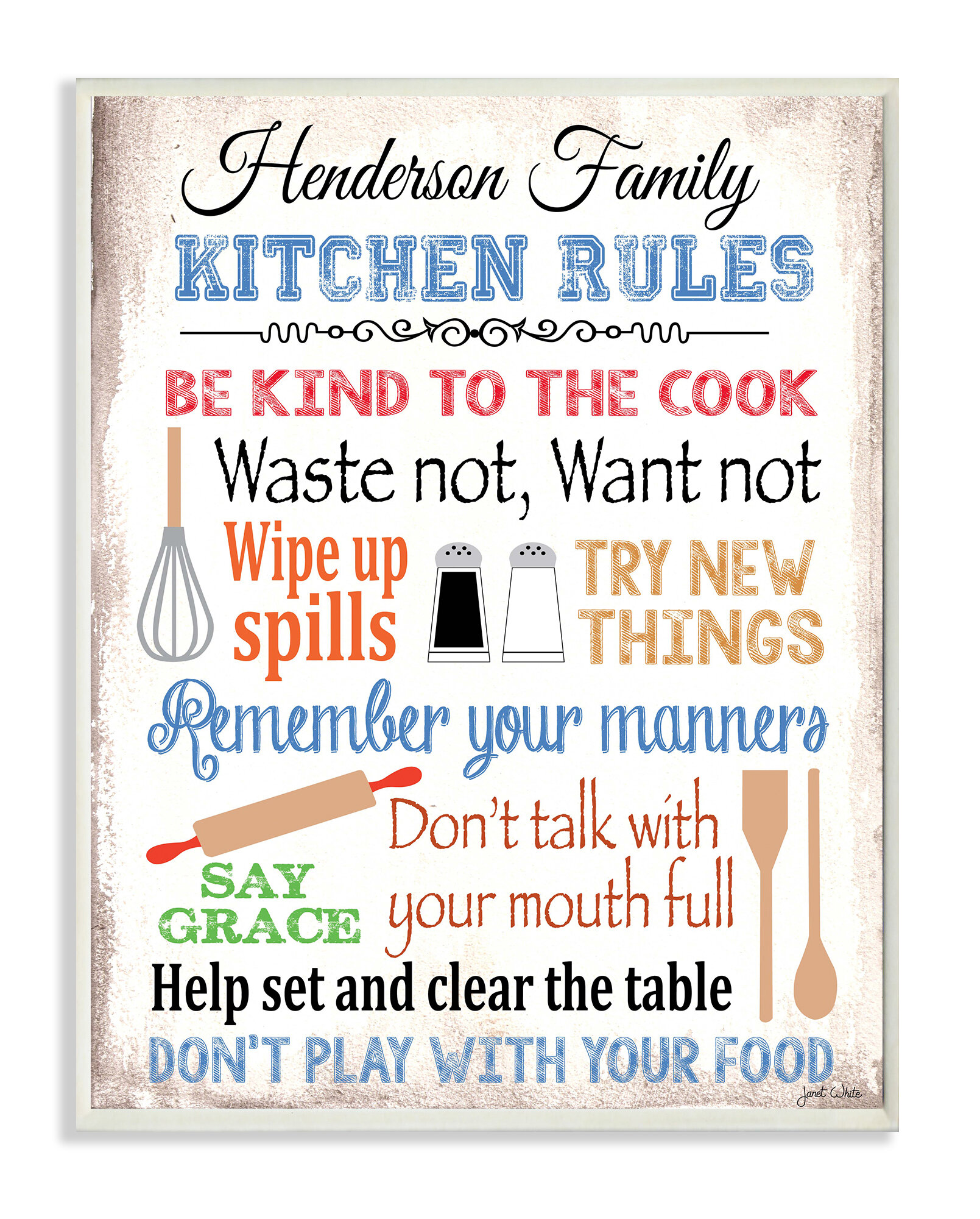 Stupell industries personalized kitchen rules by janet white with kitchen tools graphic art plaque reviews wayfair ca