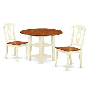 Charlton Home Tyshawn 3 Piece Drop Leaf Breakfast Nook Solid Wood Dining Set