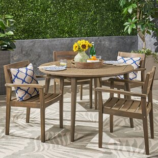 Sir Outdoor Acacia Wood 5 Piece Dining Set by Gracie Oaks