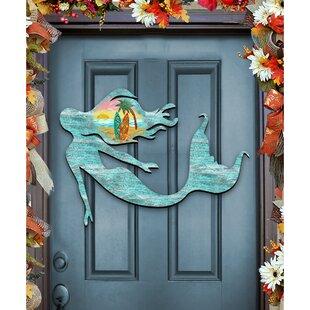 Mermaid Coastal Beach Landscape Wooden Decorative Door Hanger Wall Décor & Decorative Doors For Walls | Wayfair