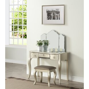 Astoria Grand Caden Tri Fold Vanity Set with Mirror
