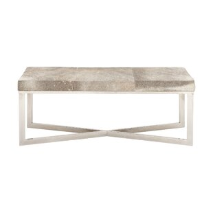 Stainless Steel and Leather Bench by Cole & Grey
