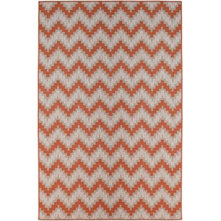 Compare prices Hephzibah Orange/White/Gray Indoor/Outdoor Area Rug By Ebern Designs