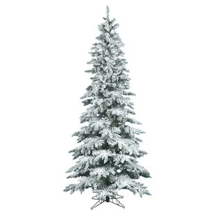 flocked utica 65 whitegreen fir trees artificial christmas tree with stand