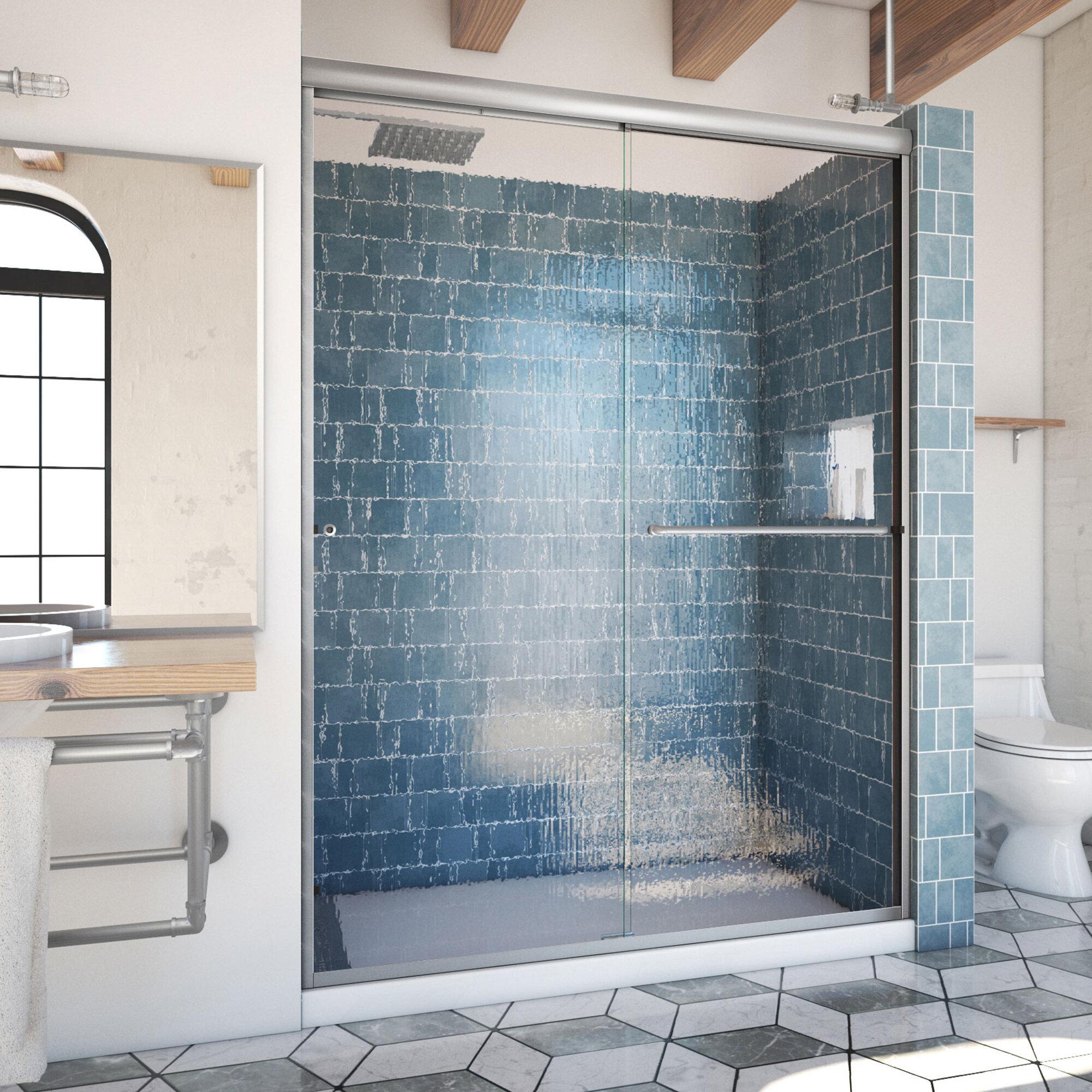 Arizona Shower Door Ese 60 X 80 Bypass Semi Frameless Shower Door Wayfair