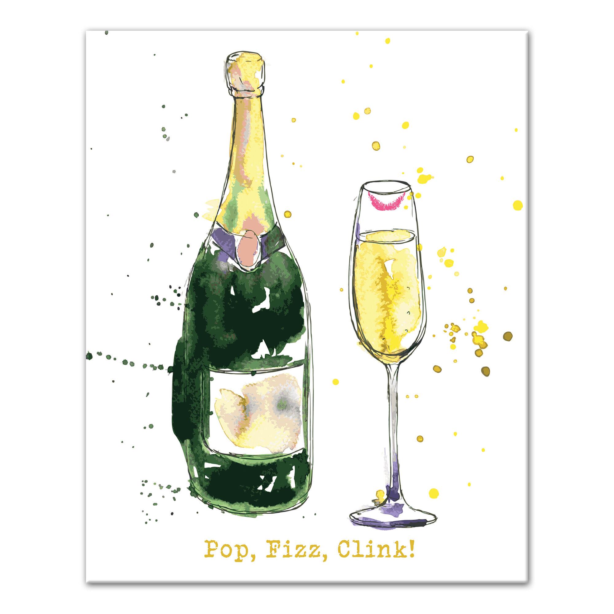 House Of Hampton Pop Fizz Clink Champagne Graphic Art Print On Canvas Wayfair