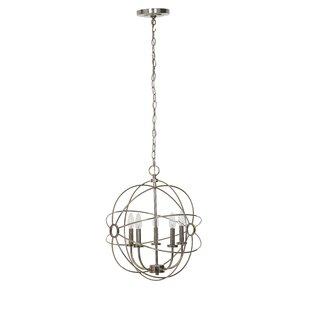 House of Hampton Harmon Chrome 5-Light Globe Chandelier