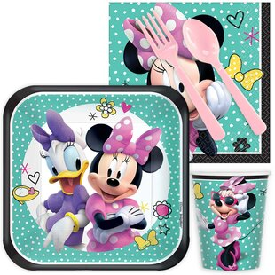 Minnie Mouse Helpers 16 Guest Snack Plastic Disposable Party Kit Set (Set of 80)