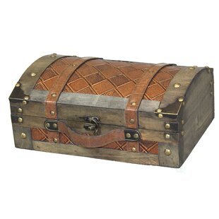 Williston Forge Danyel Vintage Suitcase Style Leather Trunk Set (Set of 2)
