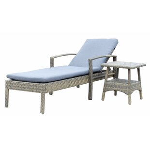 Denika Reclining Chaise Lounge with Cushion and Table