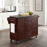 Pepperell Kitchen Cart with Granite Top by Williston Forge