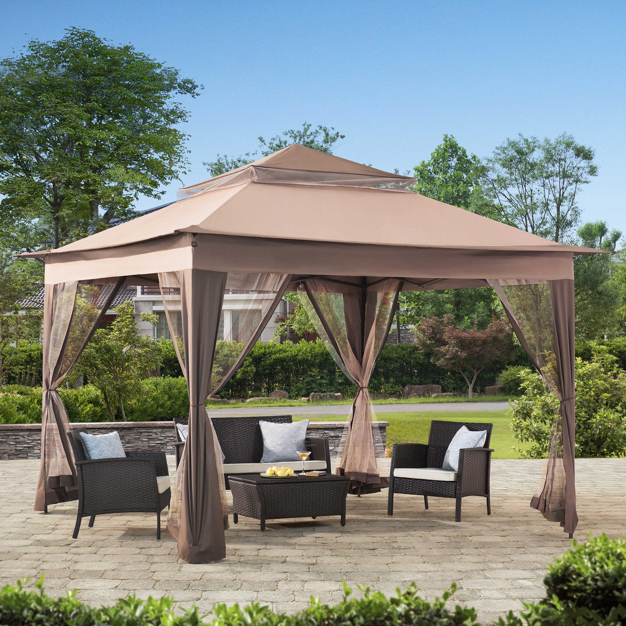 Sunjoy 10 Ft. W x 10 Ft. D Patio Canopy & Reviews   Wayfair.ca on entry canopy lighting, backyard pergola lighting, backyard gazebo lighting, patio canopy lighting,