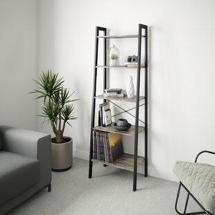 Industrial Bookshelf, 4-Tier Ladder Shelf With Metal Frame, Rustic Brown By Ballucci