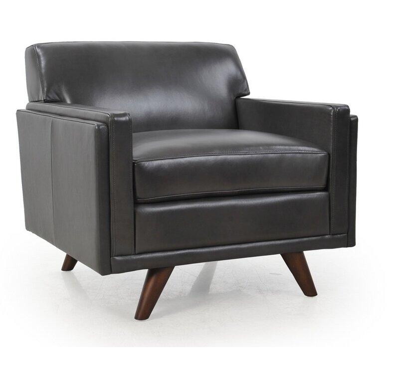Corrigan Studio Ari Genuine Leather Armchair Reviews Wayfair