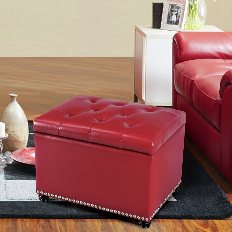 Red barrel studio lyndia storage leather ottoman wayfair