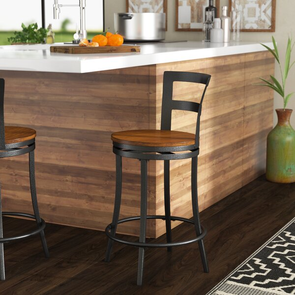Union Rustic Mack Swivel Solid Wood 24 Counter Stool Reviews Wayfair
