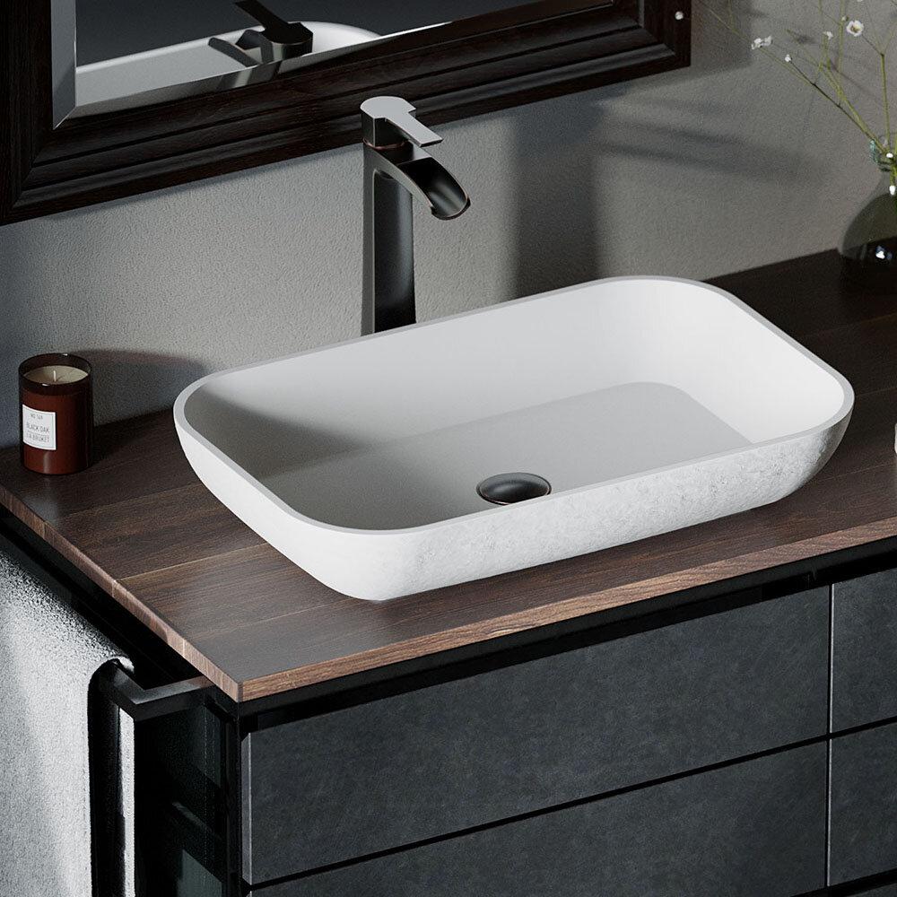 Mrdirect Composite Rectangular Vessel Bathroom Sink With Faucet Wayfair