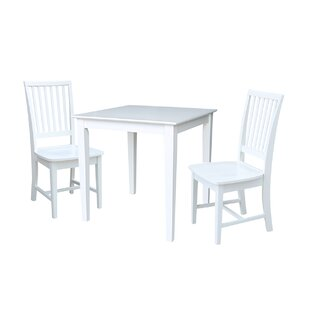 Crofoot 3 Piece Solid Wood Dining Set Rosecliff Heights
