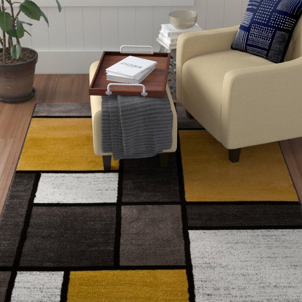 Wrought Studio Archbold Geometric Yellow Gold Area Rug Reviews Wayfair