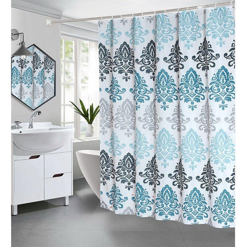 Astoria Grand Ariya 13 Piece Damask Shower Curtain Set Hooks Wayfair