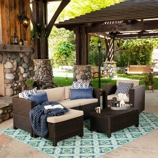 Gracie Oaks Haverstraw Outdoor 6 Piece Rattan Sectional Seating Group with Cushions