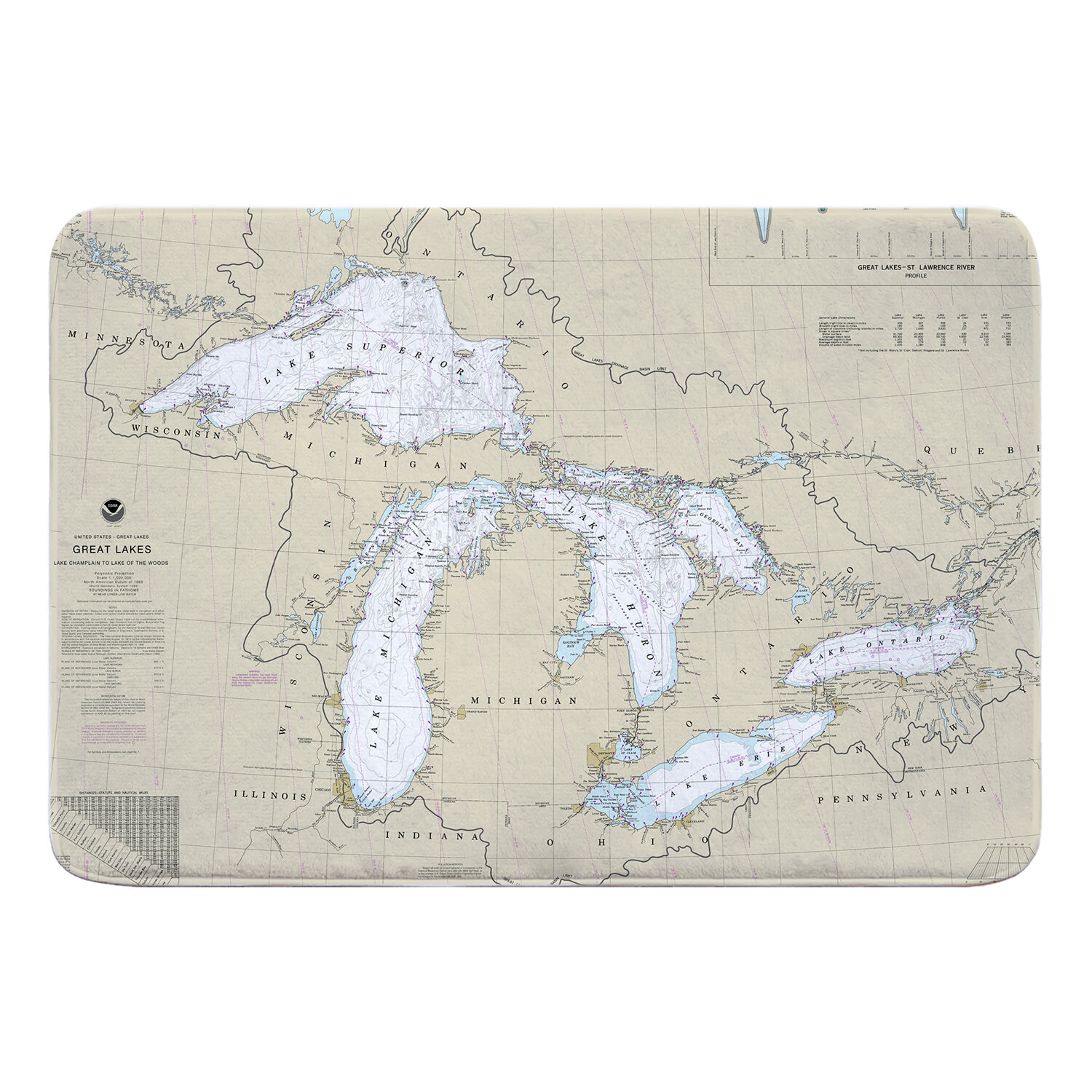 Breakwater Bay Nautical Chart Great Lakes Rectangle Memory Foam Non Slip Bath Rug Wayfair