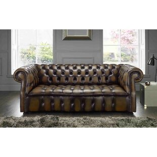 Colston Genuine Leather 3 Seater Chesterfield Sofa By Astoria Grand