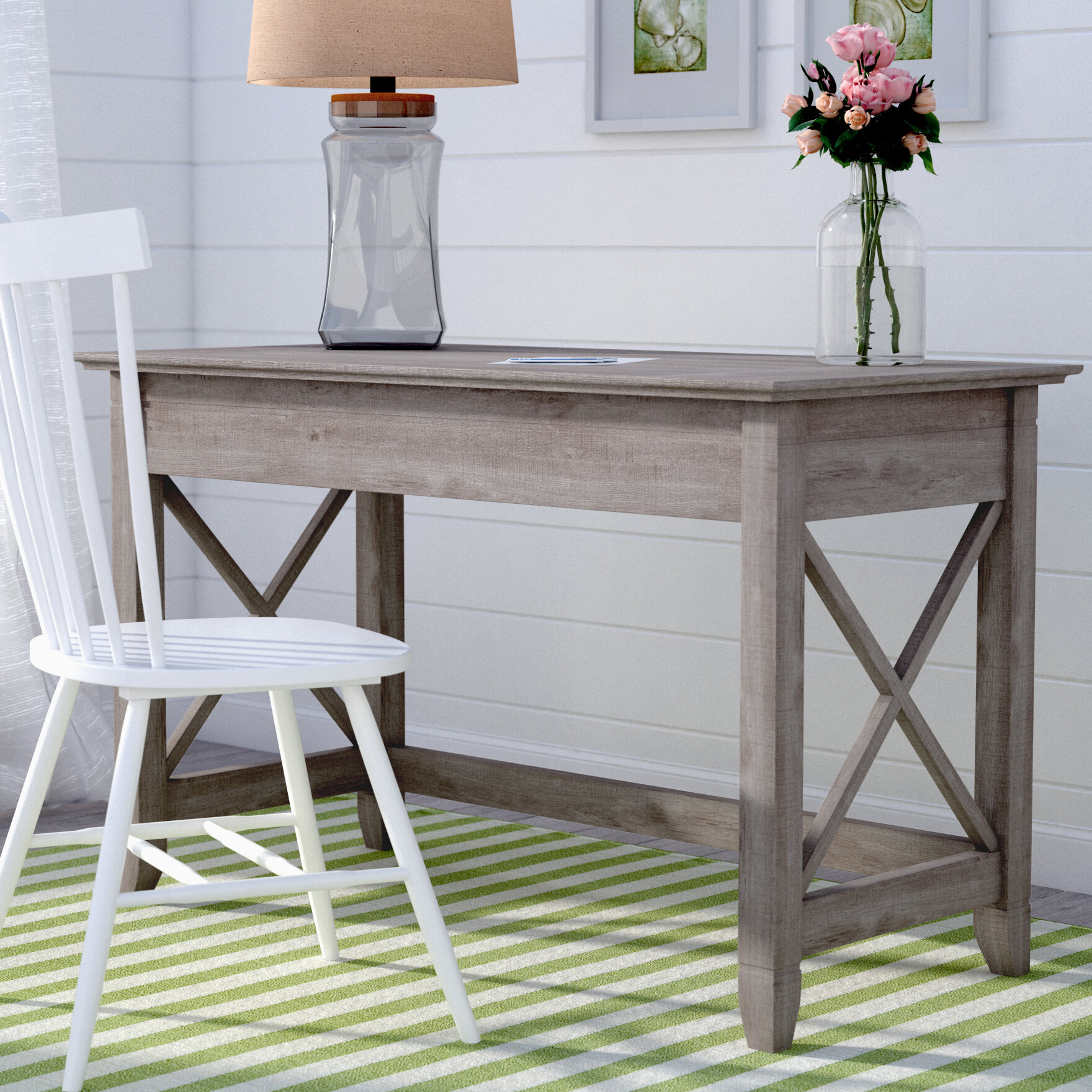 ameriwood with retro desk riser dining home writing kitchen oak gray dp weathered amazon haven com