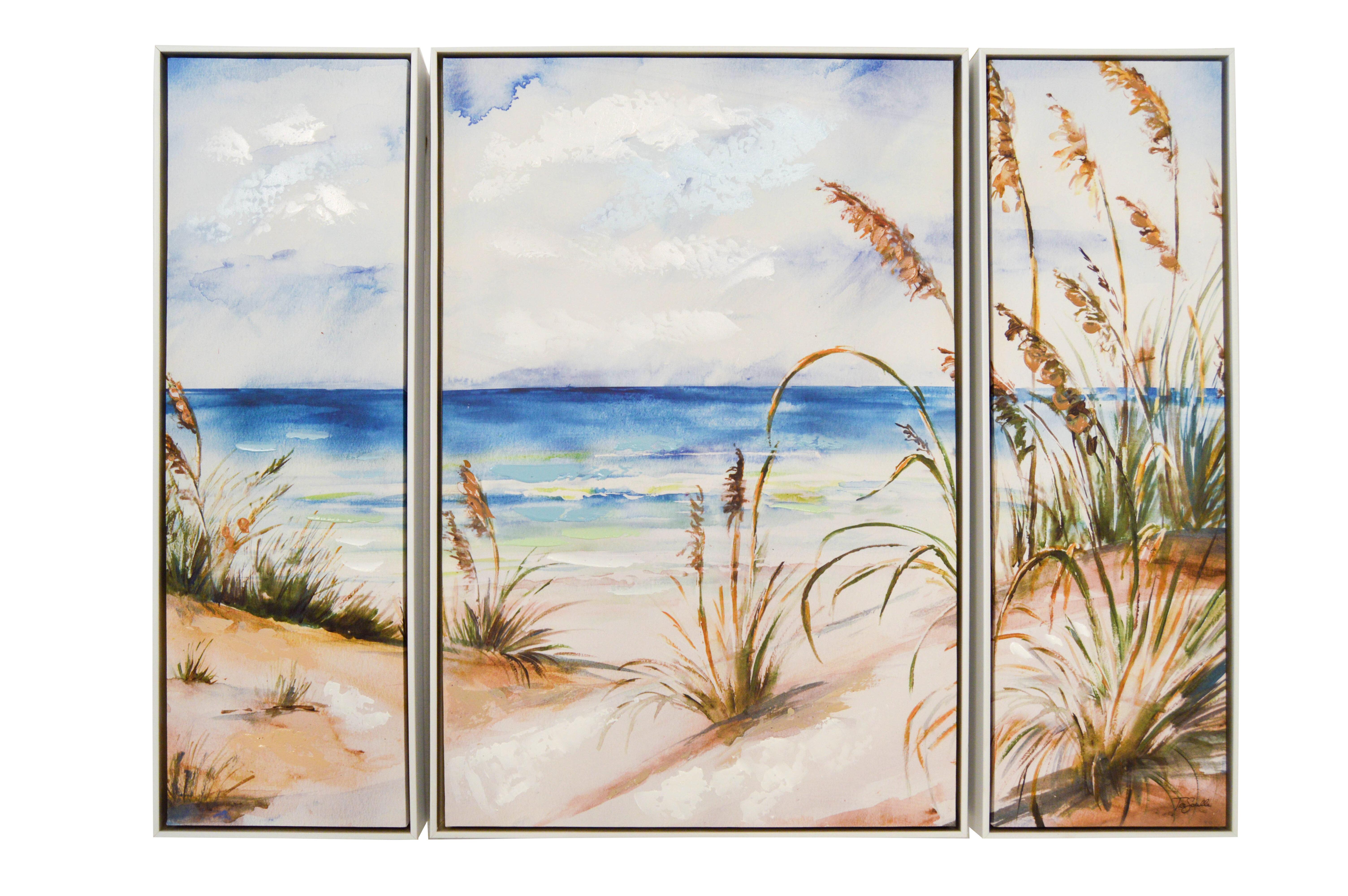 highland dunes beach scene framed acrylic painting print on canvas